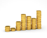 Money Graph. Many gold coins lying in piles on a white background Stock Images