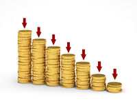Money Graph. Many gold coins lying in piles on a white background Royalty Free Stock Images