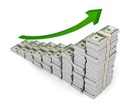 Money graph 3d illustration isolated on white background. Money graph 3d illustration on white background Stock Image