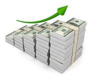 Money graph 3d illustration  on white background. Money graph 3d illustration on white background Stock Photos