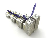 Money graph with dollars and euro. At the white background Stock Photography
