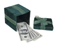 Money in a Green Gift Box. Money in the form of many large bills in an open green gift box - path included Royalty Free Stock Images
