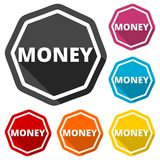 Money green icons set with long shadow. Icon Royalty Free Stock Photography