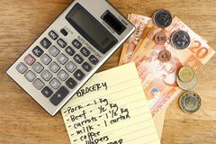 Money, grocery list and calculator Royalty Free Stock Photos