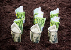 Money in the ground. Selective focus Royalty Free Stock Photos