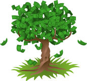 Money growing on tree. Conceptual vector illustration. Money growing on a tree, representing perhaps green environmental investments or the growth of any savings Royalty Free Stock Images