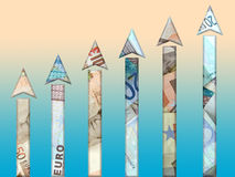 Money growth. Money rise chart vector illustration