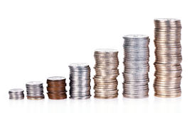 Money growth. Concept, where small coins in a pile gets bigger and higher for each pile Stock Photography
