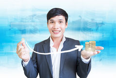 Money Growth. Asian Man With Money Investment Concept Royalty Free Stock Images