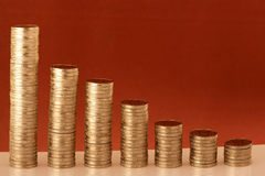 Money Growth. Stack of coins showing the money growth Stock Image