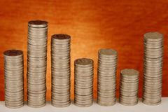 Money Growth. Stack of coins showing the money growth Royalty Free Stock Images