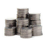 Money growth. Stack of coins isolated on white background Stock Photo