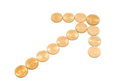 Money growth. (coins arrow isolated on white background Royalty Free Stock Photo