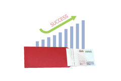 Money growth with business graph. Isolated on white background Royalty Free Stock Photo