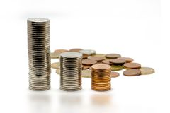 Money growth concept. With coins in piles Royalty Free Stock Photos