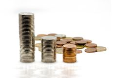 Money growth concept. With coins in piles Stock Photography
