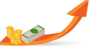 Money growth graph with 3d arrow on white. Money growth graph with 3d arrow isolated on white background. Vector illustration Royalty Free Stock Images