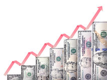 Money growth graph. Paper money bills growing in size and value looking like a financial growth graph Stock Image