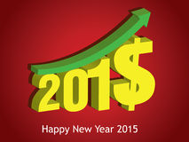 Money growth of 2015. Happy new year 2015 Stock Photo