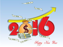 Money growth of 2016. Happy new year Stock Image