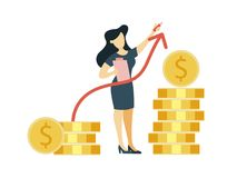 Money growth illustration. Businesswoman with dollar coins Royalty Free Stock Photography