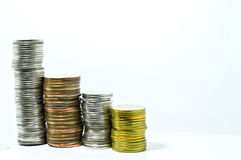 Money growth or money Worse business concept. By coin stock photography