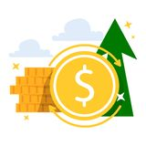 Money growth, return on investment. Cash income vector illustration