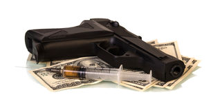 Money, gun and drugs. Isolated on white background Royalty Free Stock Image