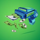 Money gun. rich and cash concept -. Illustration Stock Photography