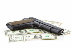 Money with Gun . Royalty Free Stock Images