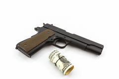 Money with Gun. Royalty Free Stock Photo