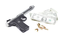 Money, guns and bullets. Royalty Free Stock Images