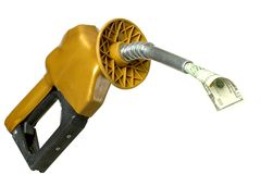Money Guzzler #2. Money coming out of gasoline pump Royalty Free Stock Images