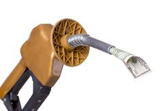 Money Guzzler. Money coming out of gasoline pump, with clipping path Stock Photo