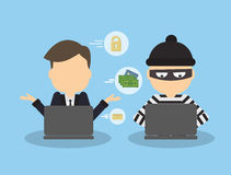 Money hacking concept. Thief stealing money and information from laptop of businessman vector illustration