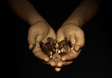 Money in hand. A rich man ore a winnerhand Royalty Free Stock Photo