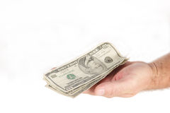 Money in Hand. Show success with grennbacks on payday Royalty Free Stock Image