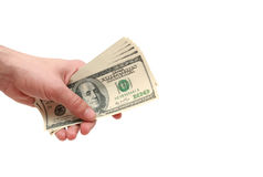 Money in hand. On white background Royalty Free Stock Photos