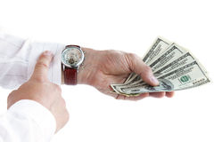 Money in the hand. / time is money Stock Photo