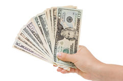 Money in hand Stock Images
