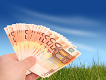 Money in hand. stock photography