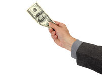 Money in Hand. A businessman holds his profit or wages isolated on white royalty free stock photos