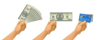 Money in hand. Hand with money on a white background Stock Images