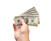 Money in hand. Isolated on white background Royalty Free Stock Photography
