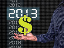 Money on hand. 2,013 years Stock Photography