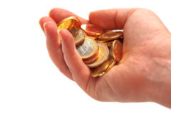 Money in hand. On white background Royalty Free Stock Image