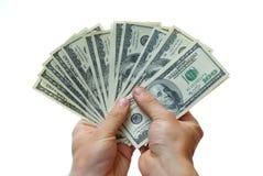 Money in hand stock image
