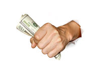 Money in hand. A hand holding money with power; cash in hand Royalty Free Stock Images
