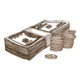Money Hand Draw Sketch. Vector royalty free illustration
