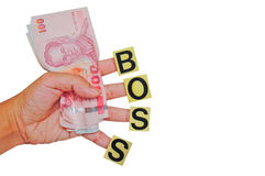 Money in hand, gift from boss. Image of money in hand, gift from boss Royalty Free Stock Image